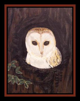 Little Lost Owl, Acrylic on 18 x 24cm Unframed Stretched Canvas