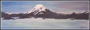 Mount Fuji, Acrylic                             on 20 x 60cm Unframed Stretched Canvas