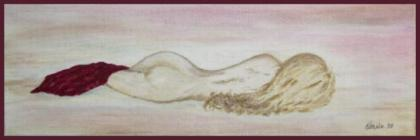 Nude With Red                             Satin, Acrylic on Unframed 20 x 60cm                             Stretched Canvas